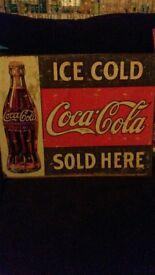 coca cola tin retro style print