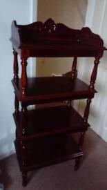 Solid wood shelf unit.