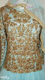 Fairy Blue Wedding dress,Asian Dress,Indian Gold Blue, Blue material with gold detail