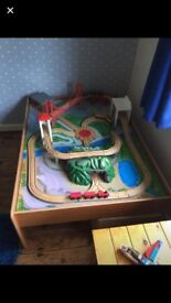 ELC train table with trains and track set up