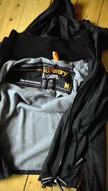 Men's Superdry hooded Windcheater, fleece lined, size Medium