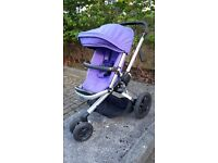Quinny Buzz Xtra in Purple pace, a single seat all terrain three wheeled pushchair.