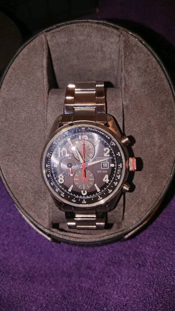 Mens Genuine Citizen Eco Drive Multifunction Wrist Watch With Box