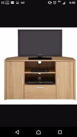Oak effect corner tv unit