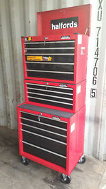 HALFORDS TOOL BOX/IMPACT GUN,CHEST AND Air Compressor 50 LITRE DUEL LINE,JACK,ENGINE STAND,JOB LOT