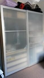 IKEA PAX double wardrobe with frosted glass sliding doors & lots of internal extras.