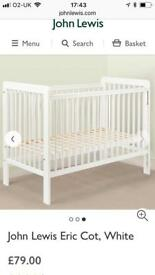 Cot, mattress, cot top changer and bedding