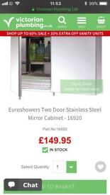 Euroshowers Two Door Stainless Steel Bathroom Mirror Cabinet - New in Box