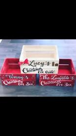 Personalised Christmas Eve boxes/crates and family tree box frames
