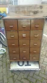 Rustic Metal Drawer Storage Cabinet on Castors Bars Restaurants Furniture Filing Cabinet