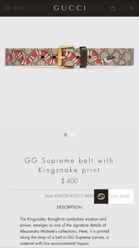 7f18f6d4 Gucci GG Supreme Belt with Kingsnake | in Oxford, Oxfordshire ...