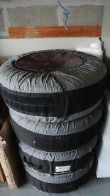 "4 X Genuine BMW Black 5 spoke 19"" Winter alloy wheel package with (RFT) tyres (X5/X6)"