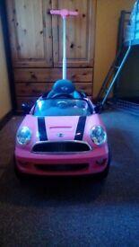 Pink mini cooper ride on