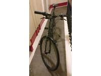 Bike Fuji Absolute 2.3; suits 6ft; commute; road; Shimano 21 speed; mud-guard; stand; black; helmet.