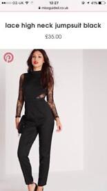 Missguided black lace jumpsuit