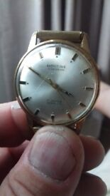 Vintage montine 17jewel incabloc swiss watch with strap. Winder missing suit spares/repairs enthu