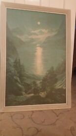 Retro print of Moonlight over the Mountains