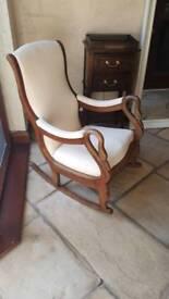 Antique Victorian swan neck rocking chair