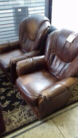 armchairs 2 brown leather