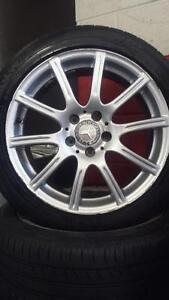 "17"" Mercedes-Benz ORIGINAL ~~~ C-Class W204 4Matic ~~~ 5x112mm Stag'd RIMS &SUMMER TIRES ~~~  Michelin Pilot Sport 2"