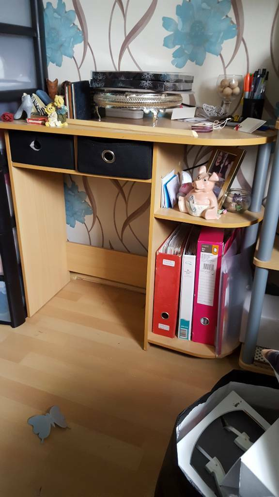 Small desk plus shelving plus corner shelving plus tv unit