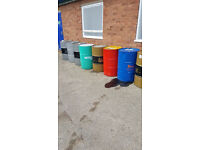 Used BBQ steal oil pan drum barrels available can cut your barrel ideal wood burner can deliver.