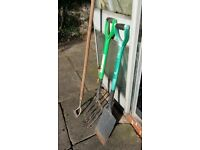 Garden fork,spade and long handle trowel.