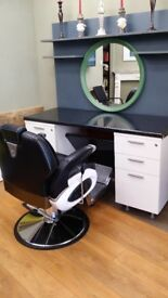 Barber chair with unit