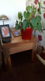 Small chunky solid wood coffee/lamp table
