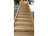 Hardwood Staircase, long wide shallow (Pirana Pine hardwood) 5.3m long - lovely