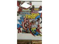 Great big comic art collage of super heroes in a silver grey frame by 'Andyman UpCycling