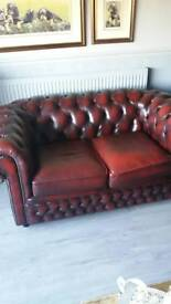 2 seater leather chesterfield and tub chair