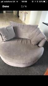 NEXT swivel love/ cuddle chair camilla silver