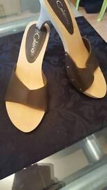 Brand new wooden slip on kitten heel shoe size 5