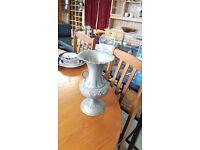 Silver-painted Metal Urn
