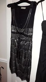 Pretty black lacy party dress size 8-10 fit