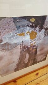 abstract painting with gold leaf detailing