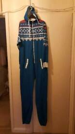 Blue with checked top onesie size m/ l
