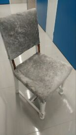 Silver velvet chairs for dining room