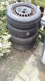 4 x 15inch 4stud wheels tyres are in great condition