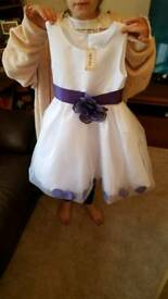 Brand new white and purple flowergirl dress