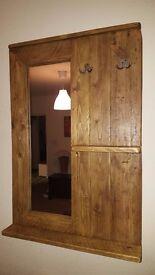 Stunning Handmade Reclaimed Wood Hallway Mirror With Shelf And Hooks