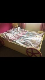 Girls double pink carriage bed