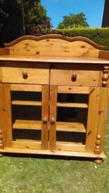Solid , glazed Pine ........... Bedroom/baby changing unit can double as bathroom chest