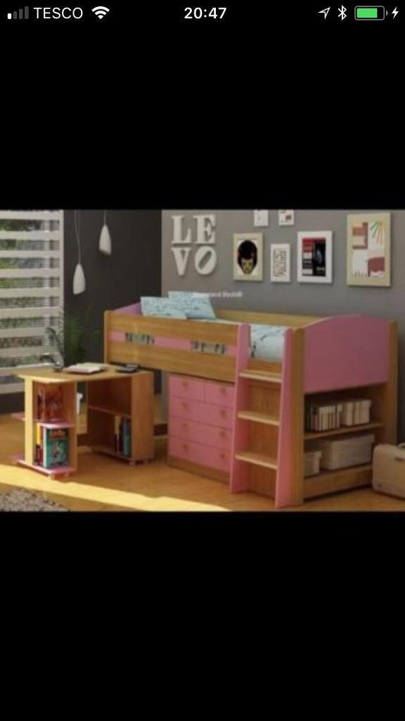 Cabin Bed with drawers, desk, bookcase