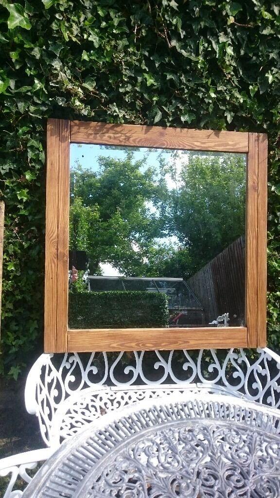 Handmade oak effect wooden framed mirror