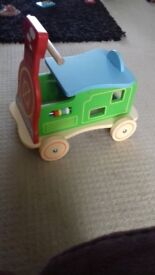 Small ride on wooden train