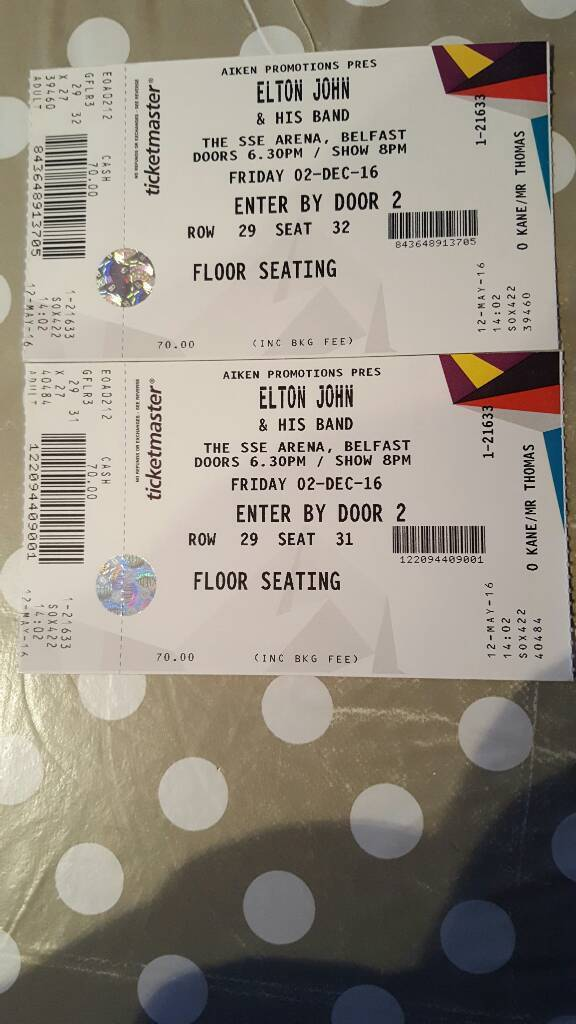 2 Elton John Tickets