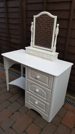 White dressing table and mirror. Bedside cabinet and matching cupboard