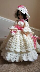 """14"""" DOLL WEARING HER HAND MADE CROCHET DRESS & BONNET IVORY AND PINK"""